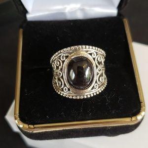 Sx 7 black onyx set in solid silver. Vintage
